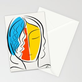 Graphic Minimal Portrait Design Orange Yellow and Blue Stationery Cards