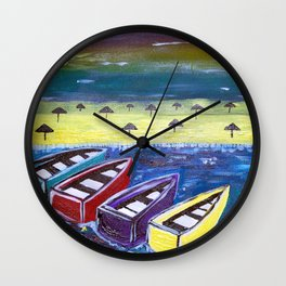Vibrant Boats Wall Clock