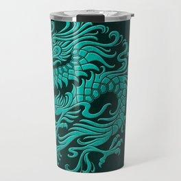 Traditional Teal Blue Chinese Dragon Circle Travel Mug