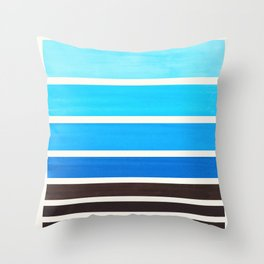 Cerulean Blue Minimalist Watercolor Mid Century Staggered Stripes Rothko Color Block Geometric Art Throw Pillow