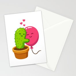 Cactus hugging air balloon Stationery Cards