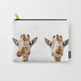 Funny Giraffe Portrait Art Print, Cute Animals, Safari Animal Nursery, Kids Room Poster, Wall Art Carry-All Pouch