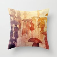 takmaj Throw Pillows featuring Summer day by takmaj