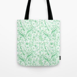 Mermaid Toile - Green Tote Bag