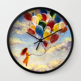 Happy girl with multicolored balloons enjoying on clouds in sky Wall Clock