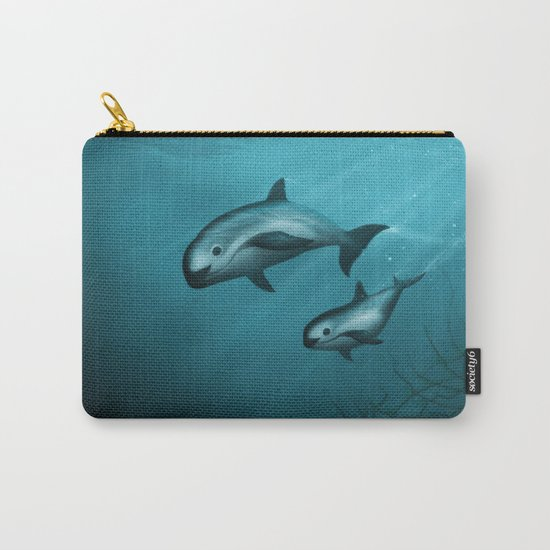 Treacherous Waters - Vaquita Porpoise Art, Original Digital Painting by Amber Marine, Copyright 2015 Carry-All Pouch