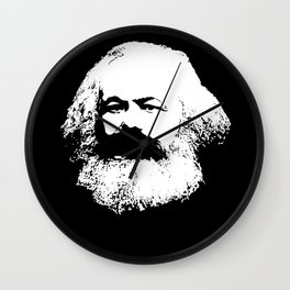 portrait of a Karl Marx in black and white Wall Clock