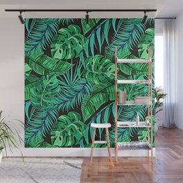 Blue and Green Ferns and Tropical Leaves Wall Mural