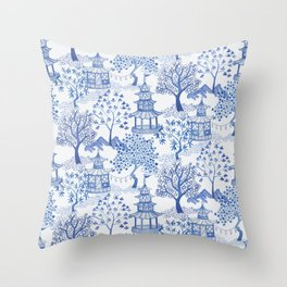 Pagoda Forest in Blue and White Throw Pillow