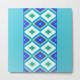Turkish carpet yellow blue green. Patchwork mosaic oriental kilim rug Metal Print