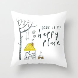 Home is my happy place: whimsical scandinavian style illustration Throw Pillow