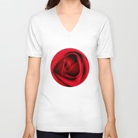 card V-neck T-shirts featuring GREETING CARD by mark ashkenazi