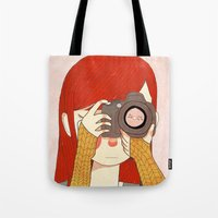 nan lawson Tote Bags featuring Behind The Lens by Nan Lawson