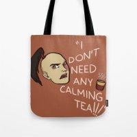 zuko Tote Bags featuring Calming Tea by Allicyn's Art