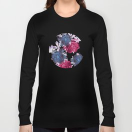 big floral on gray Long Sleeve T-shirt