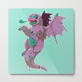 Zombie Dragon Metal Print