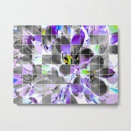 closeup purple flower with yellow pollen background Metal Print