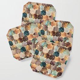 Natural Hexagons And Diamonds Coaster