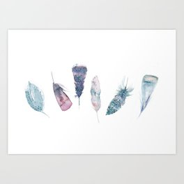 Watercolor feather collection in blue and pink Art Print
