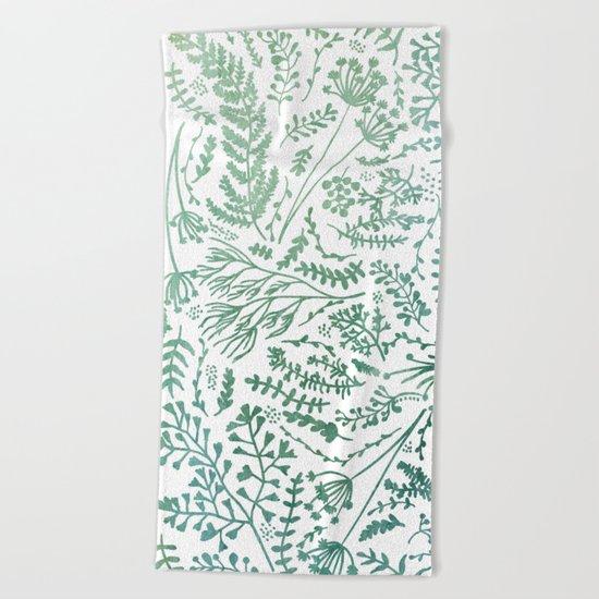 GREEN HERBS Beach Towel