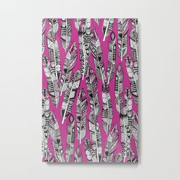 geo feathers hot pink Metal Print