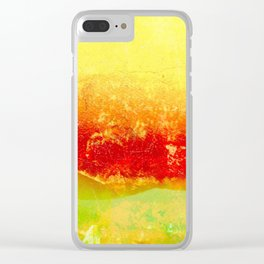 Vibrant Yellow Sunset Glow Textured Abstract Clear iPhone Case