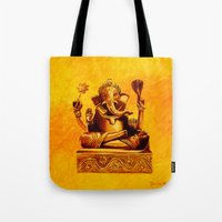 ganesha Tote Bags featuring Ganesha by Ninamelusina