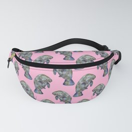 Pink Watercolor Manatee Pattern Fanny Pack