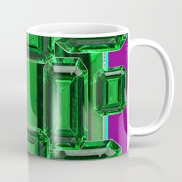 Emerald Gems May Babies Birthstones on Purple Coffee Mug
