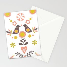 Scandinavian Folk Bird Print  Stationery Cards