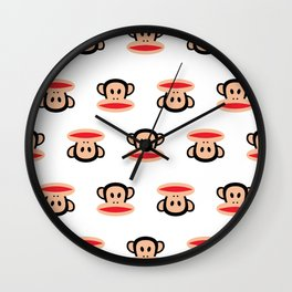 Julius Monkey Pattern by Paul Frank - White  Wall Clock