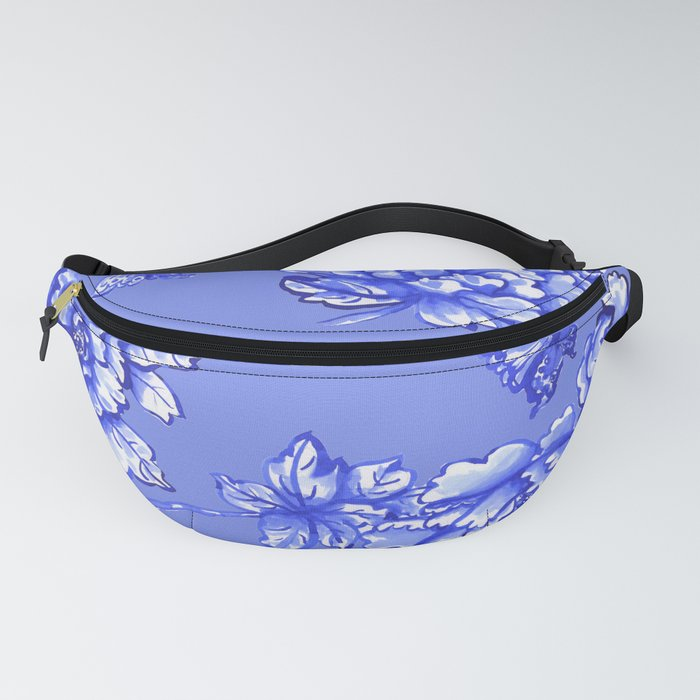 Chinoiserie Floral Blue Fanny Pack