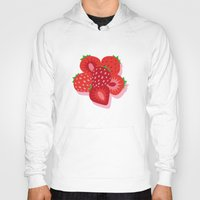 strawberry Hoodies featuring Strawberry by Helene Michau
