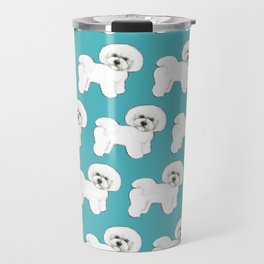 Bichon Frise Dog on blue Travel Mug