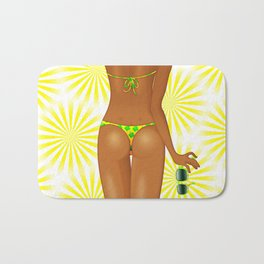 Tanned Girl's Body with Swimsuit Bath Mat