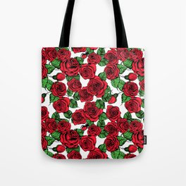 Red roses pattern Tote Bag