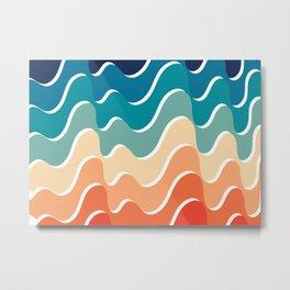 Retro 80s 70s Blue and Orange Mid-Century Minimalist Abstract Art Waves Metal Print