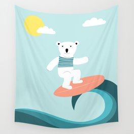 Polar bear surfing. Wall Tapestry