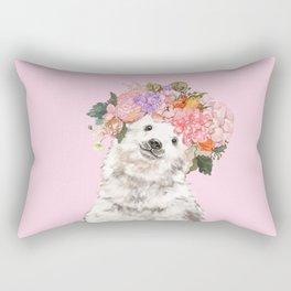 Baby Polar Bear with Flowers Crown Rectangular Pillow