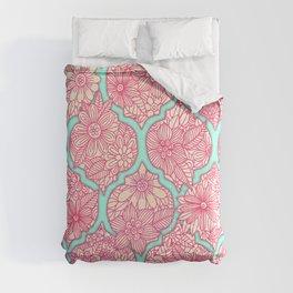 Moroccan Floral Lattice Arrangement in Pinks Comforters
