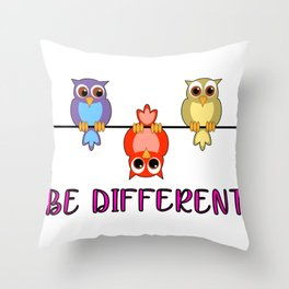Be Different Owls Be Yourself Don't Pretend Self-Love Throw Pillow