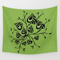 Abstract Floral With Pointy Leaves In Black And Greenery Wall Tapestry