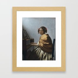 """Johannes Vermeer """"A Young Woman Seated at the Virginal"""" Framed Art Print"""
