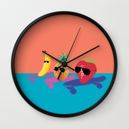 Skating Fruit Salad Wall Clock
