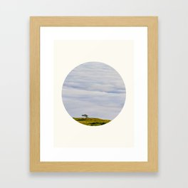 Mid Century Modern Round Circle Photo Graphic Design Green Hill In The Sky Framed Art Print