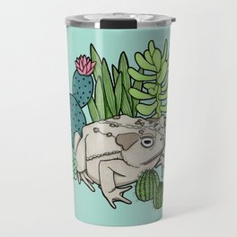 Toad with Succulents - Turquoise Travel Mug