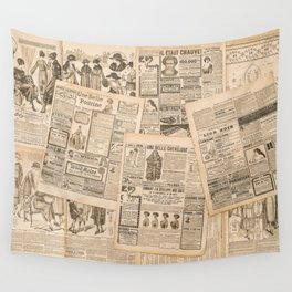 Newspaper pages with antique advertising. Fashion magazine for woman Wall Tapestry