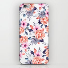 Living coral pink purple watercolor floral iPhone Skin