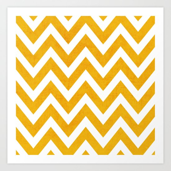 yellow chevron Art Print