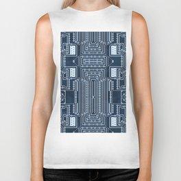 Blue Geek Motherboard Circuit Pattern Biker Tank